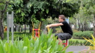 Young Man Exercising At The Park video