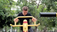 Young Man Exercising In The Park video