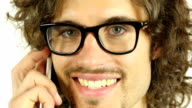 Young Man in Glasses Talking on Phone, Close Up video