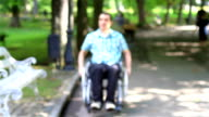 Young man in wheelchair in the city park video