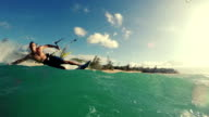 Young Man Kite Boarding in Ocean. video