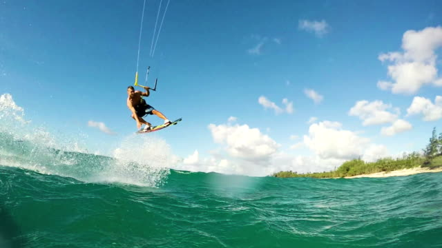 Young Man Kite Boarding in Ocean. video
