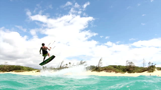 Young Man Kite Surfing, Extreme Summer Sport HD. video