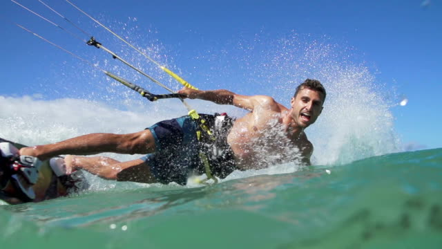 Young Man Kite Surfing In Ocean, Extreme Summer Sport video