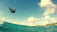 Young Man Kitesurfing in Ocean. video