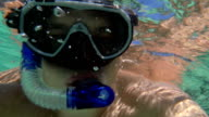 Young Man Making Underwater Selfie video
