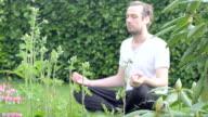 Young man meditating filmed trough foliage video