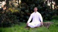 Young Man meditating in the park video