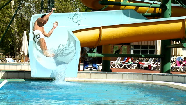 HD SLOW MOTION: Young Man On A Winding Waterslide video