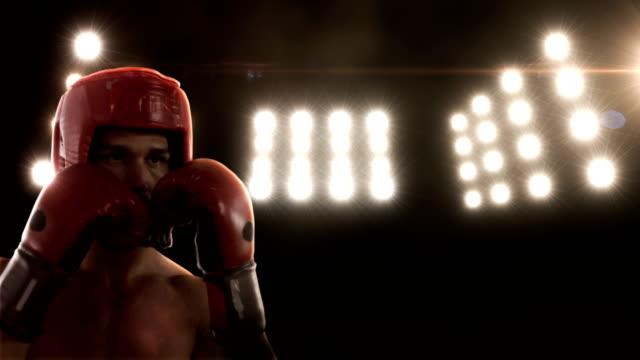 Young man practising boxing video
