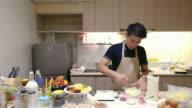 Young man Preparing ingredient to make a sweet food video