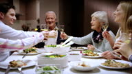 Young man proposing a toast at family dinner video