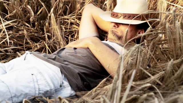 HD: Young Man Relaxing In Wheat video