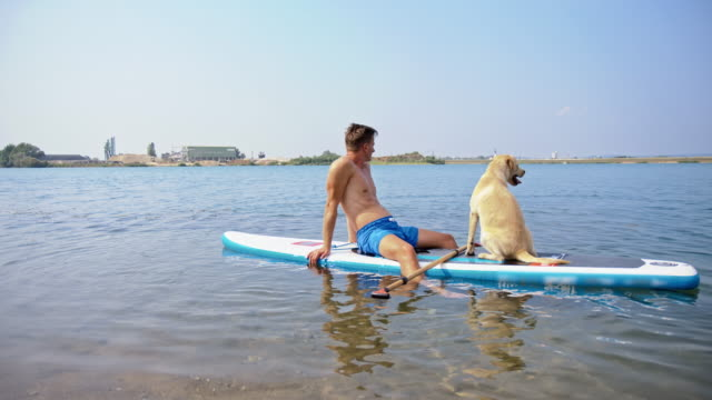 Young man relaxing on the paddleboard with his dog video