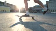 Young man riding skateboard. video
