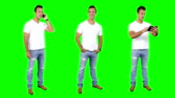 Young man spinning. Casual. Chroma key. 3 in 1. video