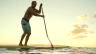 Young Man Stand Up Paddling Boarding At Sunset video