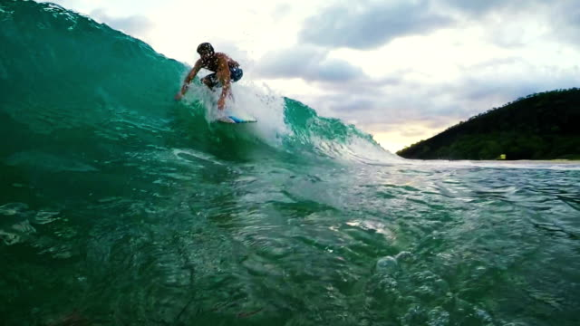 Young Man Surfing Blue Ocean Wave. Shorebreak Wipeout. video