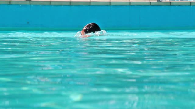 Young man swimming in pool video