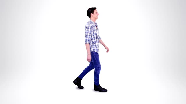 Young man walking. Alpha matte. 2 in 1. Loopable. video
