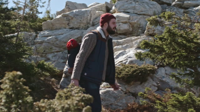 Young Man with Beard Hiking video