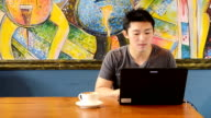 Young man with laptop in coffee shop video