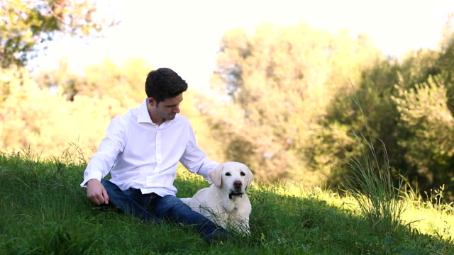 young man with old labrador dog in the nature video