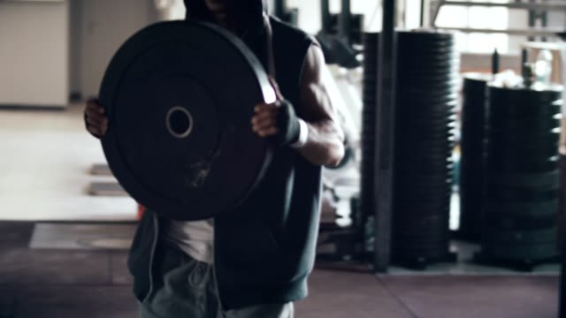 Young man with weight video