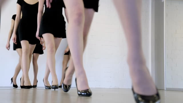 Young models have repetition in dancing class before fashion show video