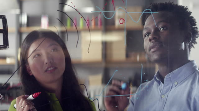 Young multi-ethnic people working on a problem solution. Startup company video