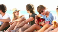 Young People Enjoying A Beach Party video