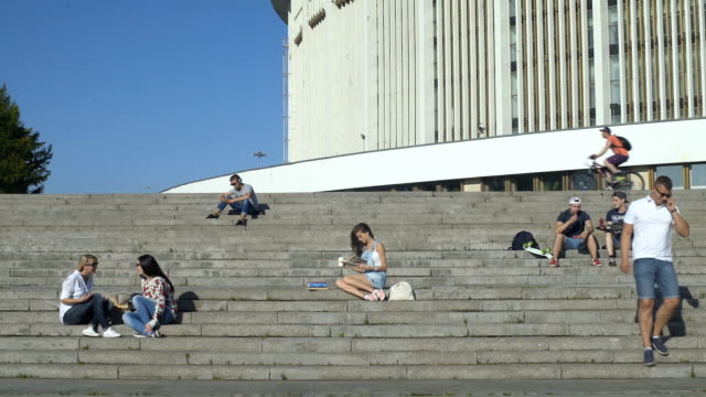 Young People Relax At The Stairs video