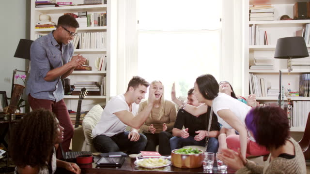 Young people social gathering video