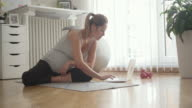 Young Pregnant Woman Exercises At Home. video