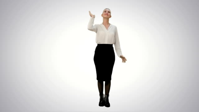 Young pretty woman throw papers finishing work successfully on white background video