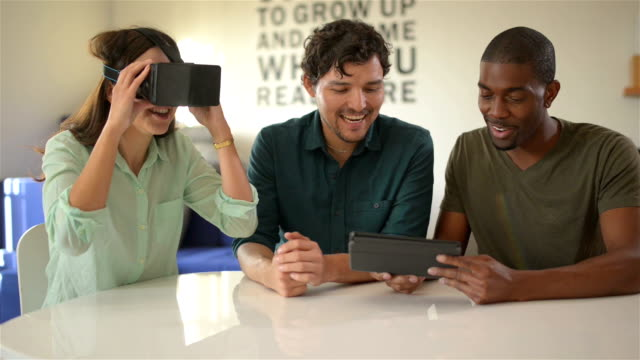 Young professionals testing VR tools - DOLLY SHOT video