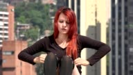 Young Redhead Woman Stretching video