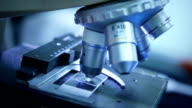 Young scientist is working with microscope video