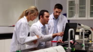 Young scientists working together in the lab video