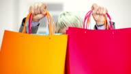 Young shopping woman video