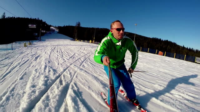 Young skier with onboard camera footage video