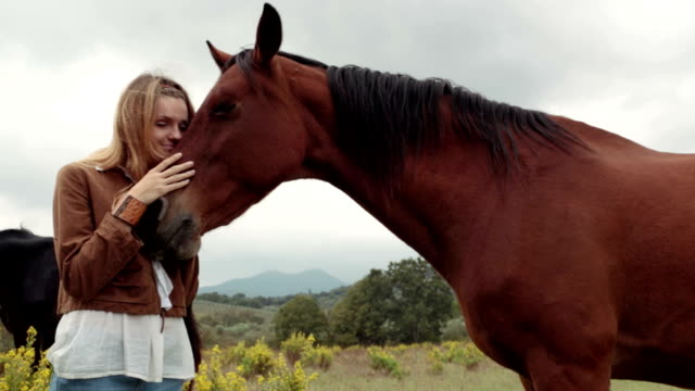 Young smiling woman in nature outdoor hug brown horse - slow-motion HD video footage video