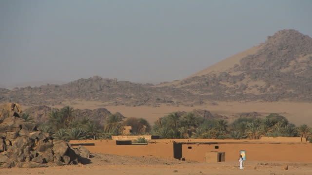 Young Sudanese man walking along settlement in Nubian desert video