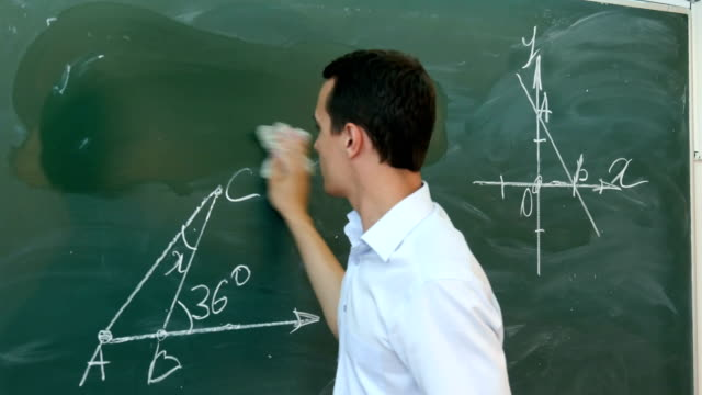 Young teacher or student erase chalkboards video