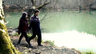 Young traveller couple at 20s walking and enjoying the nature video