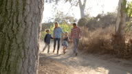 Young white family walking on a path in sunlight, front view video