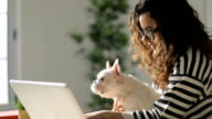 Young woman and her dog using laptop at home video