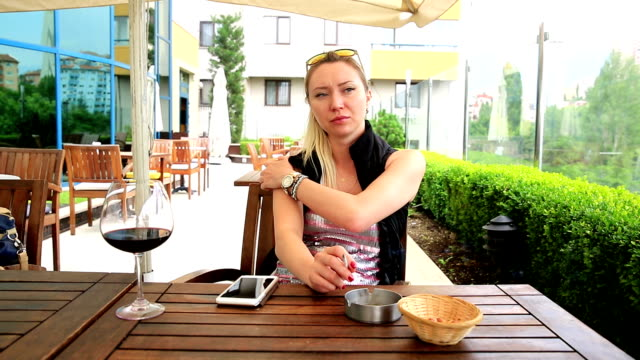 Young Woman at Cafe video