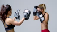 Young woman boxing training with her female sparring partner, shot on R3D video