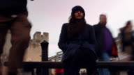Young woman city time lapse tracking shot. video